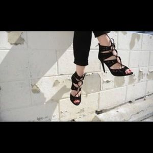 Zara black lace up sandals